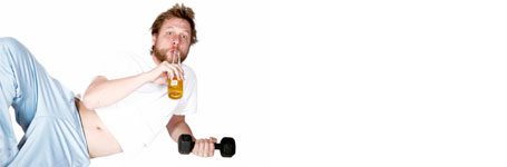 A man drinking beer while doing curls