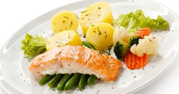 Poached Salmon with Potatoes and Vegetables
