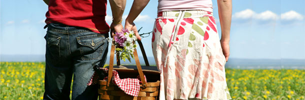 Couple with Picnic Basket