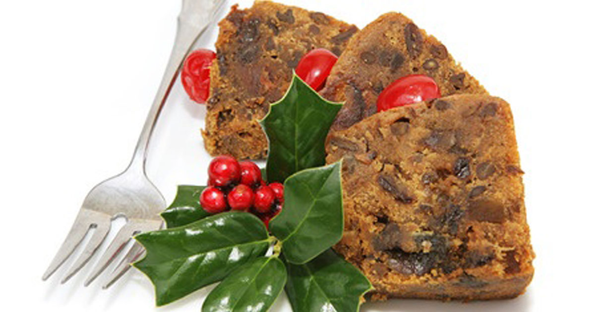 Christmas Cake Decorated with Holly