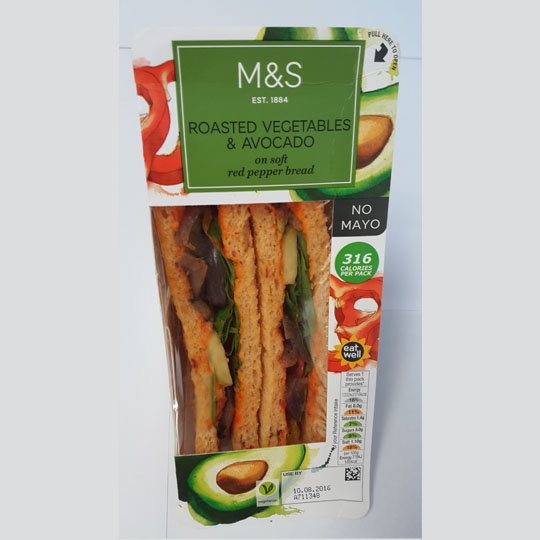 M&S Roasted Vegetables & Avocado Sandwich on Soft Red Pepper Bread (No Mayo)