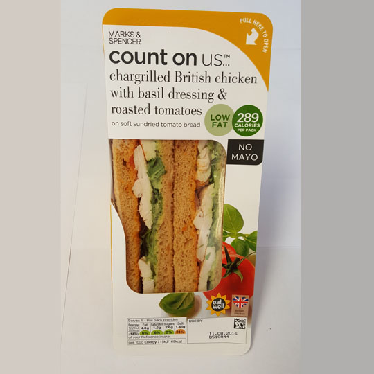 M&S Count On Us Chargrilled British Chicken Sandwich with Basil Dressing & Roasted Tomatoes (No Mayo)