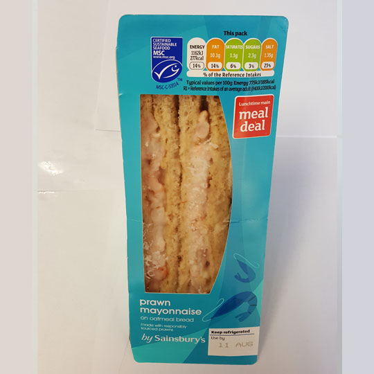 Sainsburys Prawn Mayonnaise Sandwich