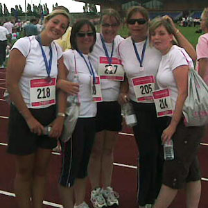 Sam (middle) at Race for Life