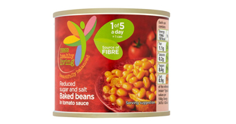 Tesco reduced sugar and salt baked beans
