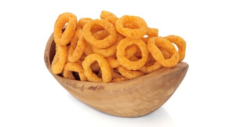 Tesco onion ring snacks in a bowl
