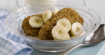 Weetabix in a bowl with banana slices