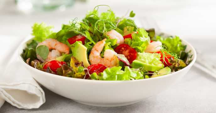 Fresh Healthy Avocado Prawn Salad