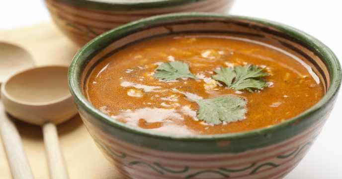 Moroccan soup with coriander garnish