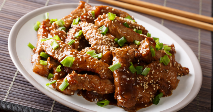 Honey Sesame Chicken with Egg Fried Rice