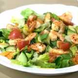 Healthy Avocado Salad With Cooked Prawns