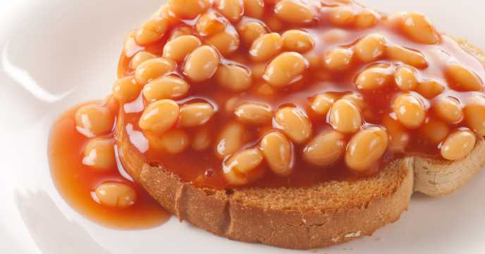 Baked beans on roasted bread.