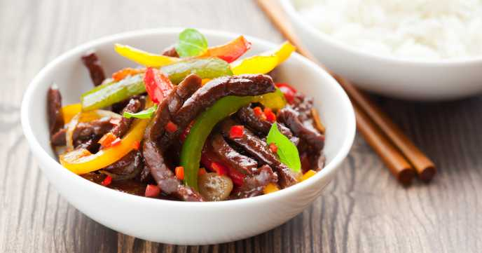 Beef Stir Fry with Vegetables and Rice