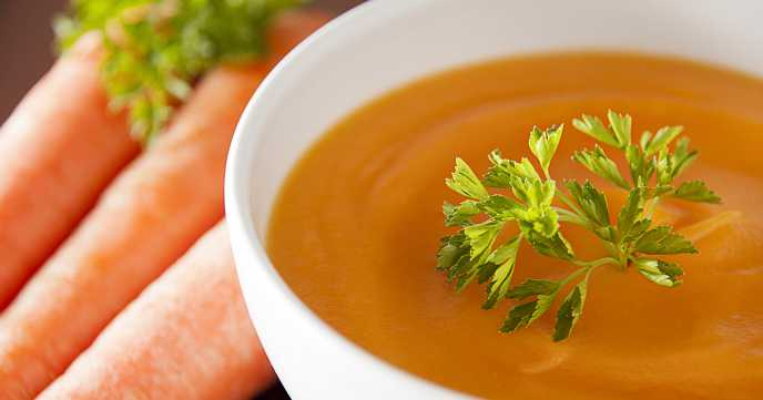 Carrots soup on a table