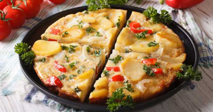Spanish Omelette With Potatoes and Veg