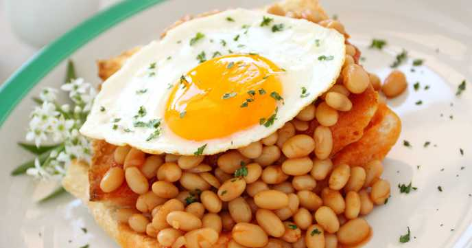 Egg on toast with beans