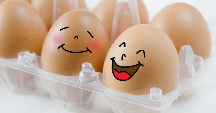 Happy eggs in an egg box