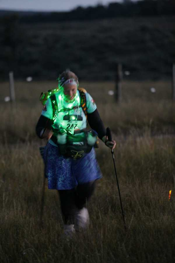 Elaine Battles on through the night to make the next checkpoint