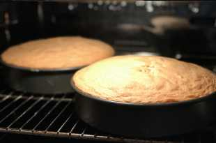 The cakes in the oven - nicely risen