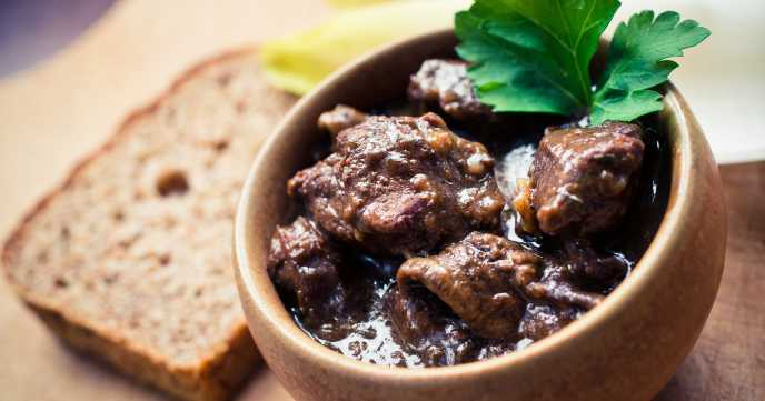French Beef Bourguignon in a bowl