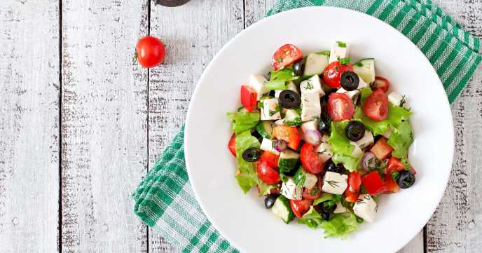 Greek salad with fresh vegetables & feta cheese