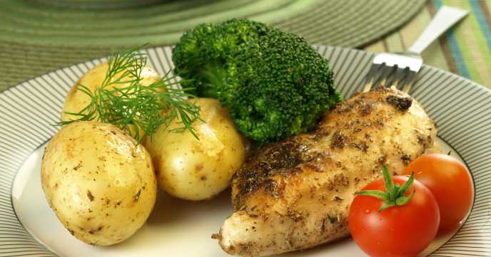 Chicken breast, potatoes, broccoli and tomatoes