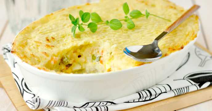 Homemade fish pie in dish