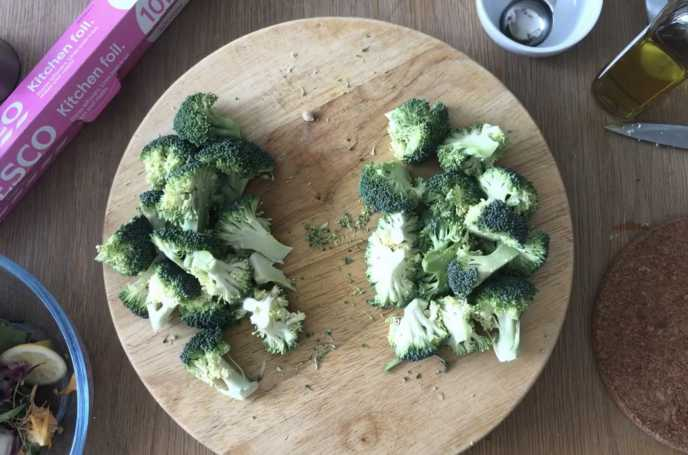 Chop broccoli into florets