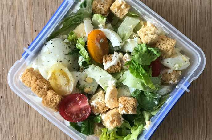 Egg Salad with Croutons and Mayonnaise