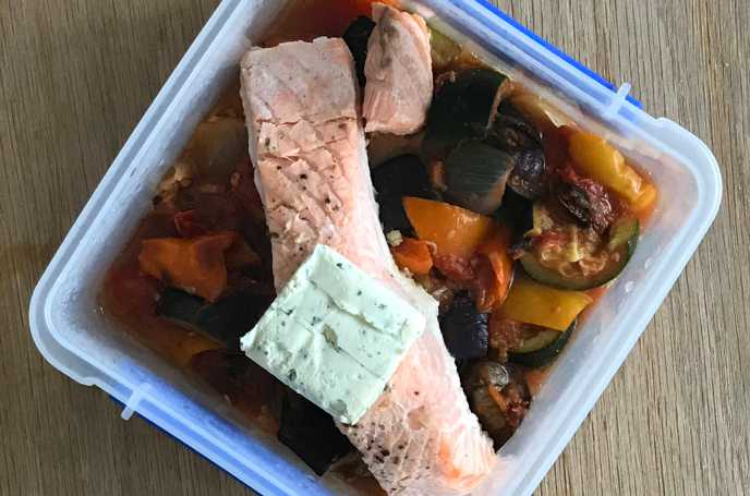 Cream Cheese Salmon with Ratatouille