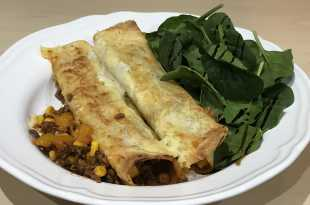 Beef Enchilladas with Baby Spinach