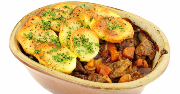 minty lamb stew with potato topper