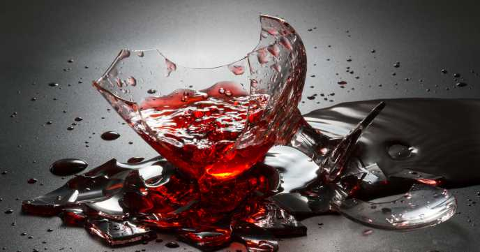 Broken Glass with Red Wine