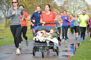 Lady with Double Pushchair at parkrun