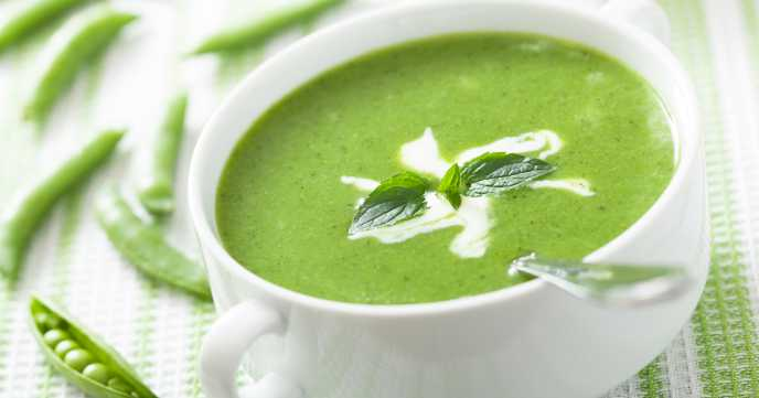 pea soup with mint in a bowl