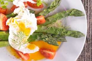 Poached Egg with Asparagus Spears and Cherry Tomatoes