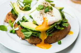 Toast topped with spinach, avocado and poached egg