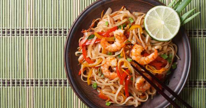 prawn stir fry on bamboo mat