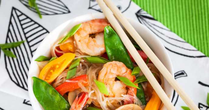 prawn stir fry with vegetables in a bowl