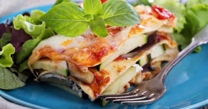 roast vegetable lasagne cut and served on a plate