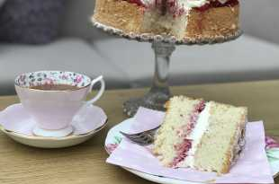 Slice of Fat Free Victoria sponge with tea in china cup