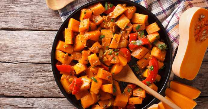 butternut squash curry in a pan