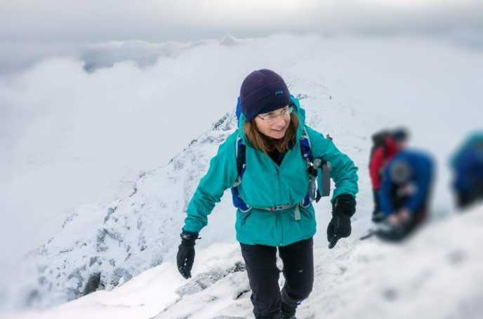 Kate Now Hiking Up a Snow Covered Mountain - amazing!