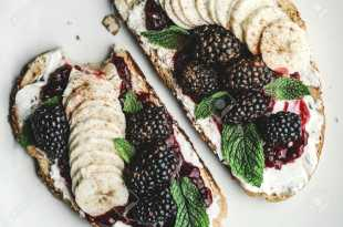 Toast with Cream Cheese, Jam and Fruit
