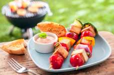 Tofu and Vegetable Kebabs with Garlic Baguette - Weight Loss Resources