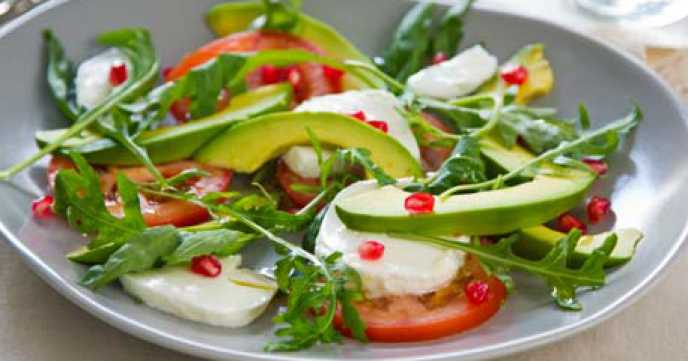 Tomato, Avocado and Mozzarella Caprese Salad