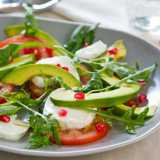 Avocado, Tomato & Mozzarella Salad <sub>with Pomegranate Seeds</sub>