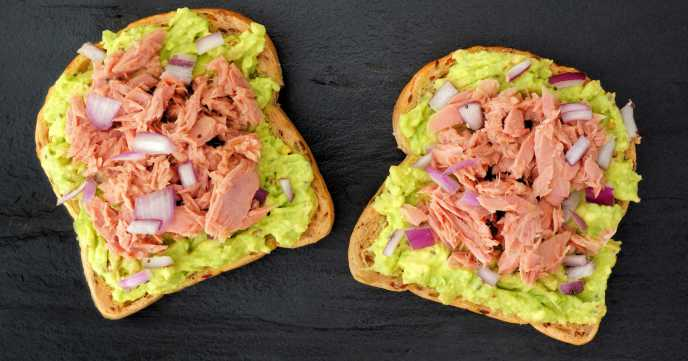 tuna and avocado on bread