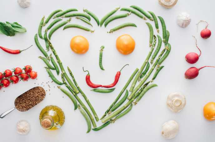 vegetarian nutrition smiley face made of vegetables
