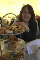 Viv with her calorie counted afternoon tea